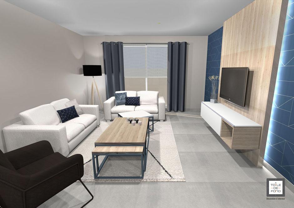 Projet 3D de l'espace séjour, conception En Toile de Fond Décoration, Séverine EBER-HITZ