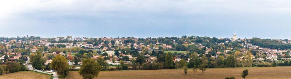 Vue de Saint-Orens de Gameville depuis la route de la Jurge