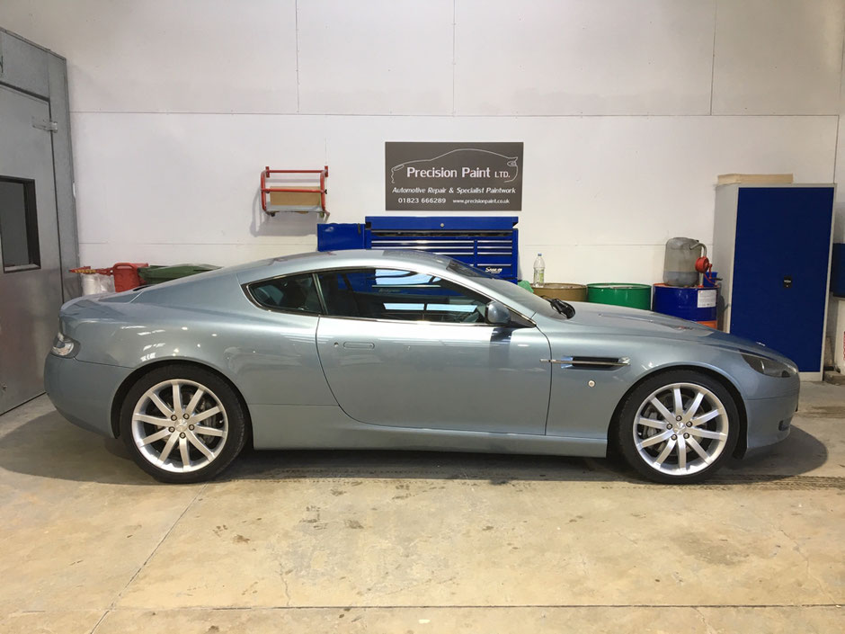 Gret Aston Martin DB9 in the precision Paint workshop - after yearly body work is done.