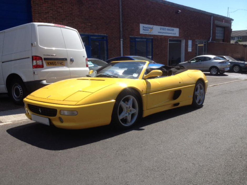 Yellow Ferrari Full Body Respray by Precision Paint | Wellington | Somerset
