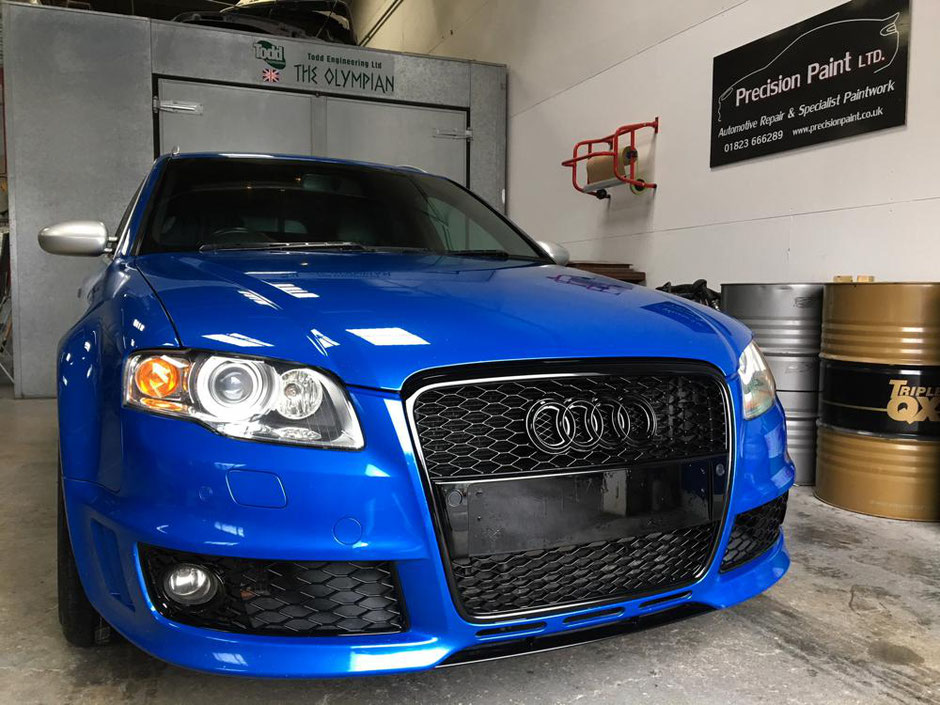 Audi RS4 Customisation and Light Damage Body Repairs Complete | Precision Paint | Wellington | Somerset