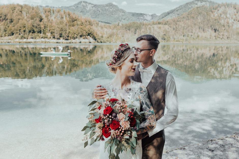 Hochzeitsfotografin Oberösterreich, Almsee, Destination Wedding, Bohohochzeit