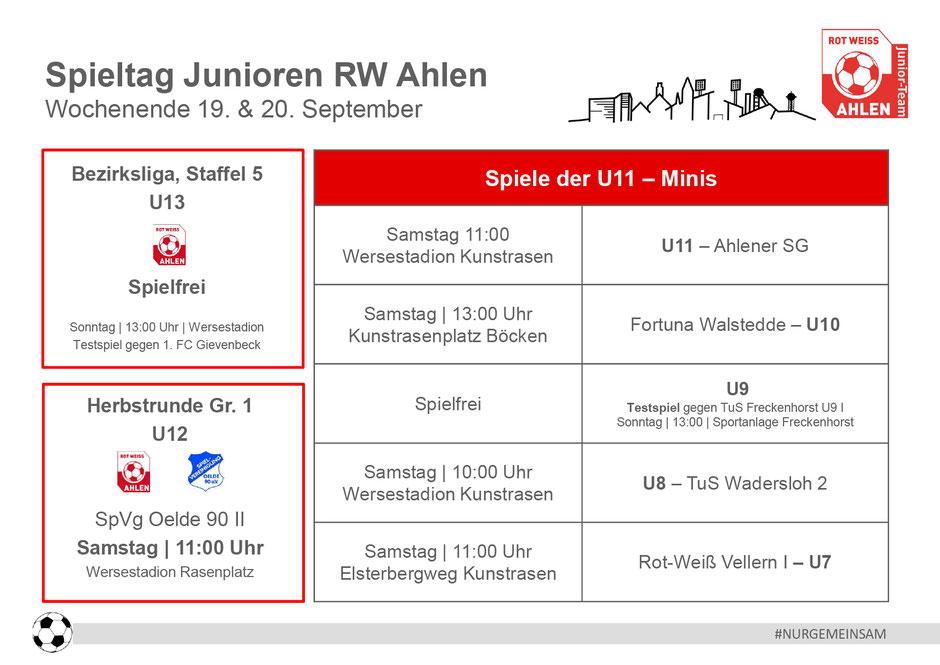 Rot Weiß Ahlen Junioren Spielplan. Wochenende: 19. - 20. September 2020