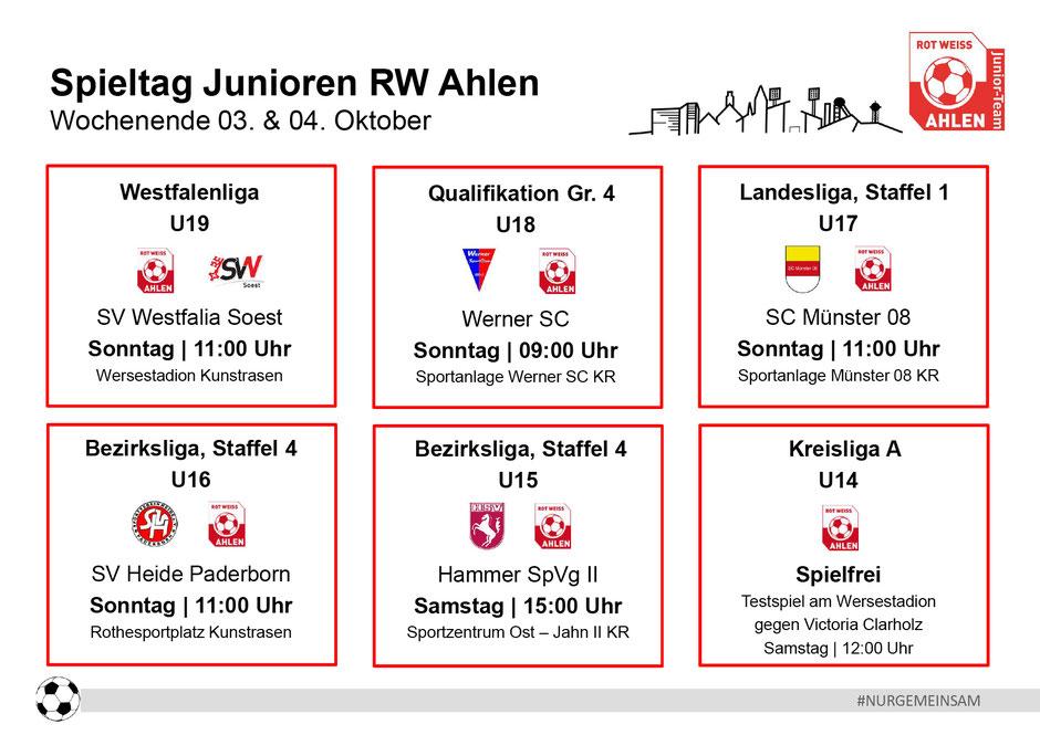 Rot Weiß Ahlen Junioren Spielplan. Wochenende: 03. - 04. Oktober 2020