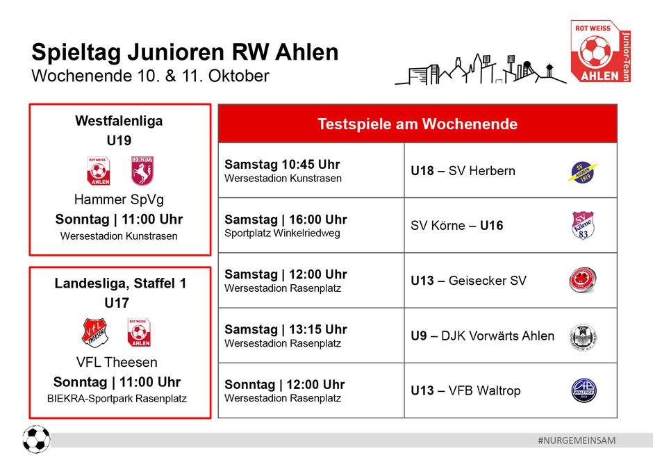 Rot Weiß Ahlen Junioren Spielplan. Wochenende: 10. - 11. Oktober 2020
