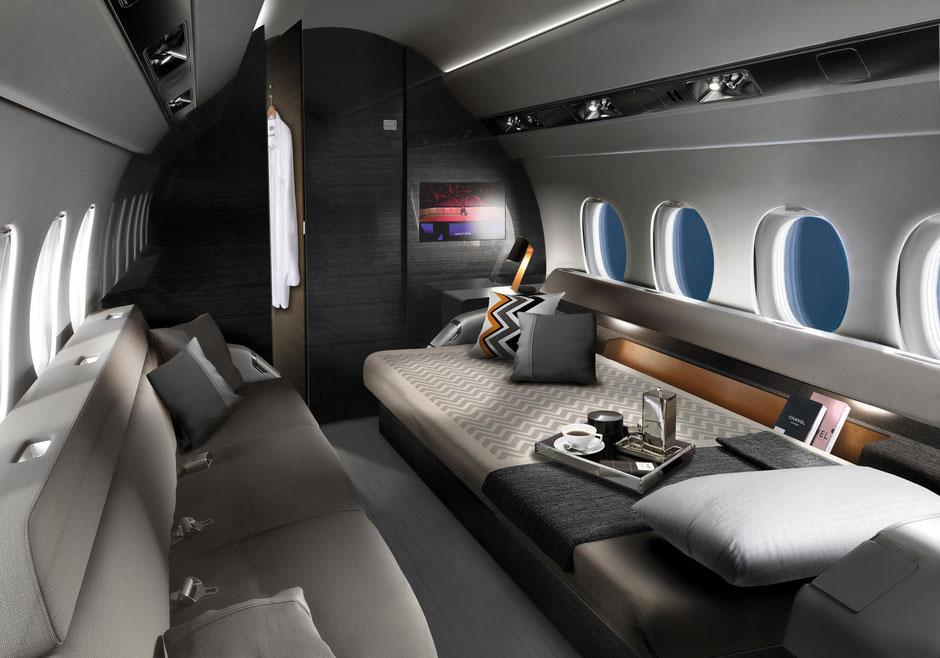 Ein Blick in die geräumige Kabine. Foto: Dassault Aviation