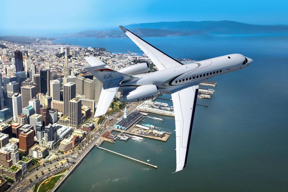 Die Falcon 6X soll bereits 2021 zum Erstflug starten. Der Langstrecken-Jet bietet ausreichend Reichweite, um wichtige Ziele auf der ganzen Welt nonstop zu verbinden. Foto: Dassault Aviation