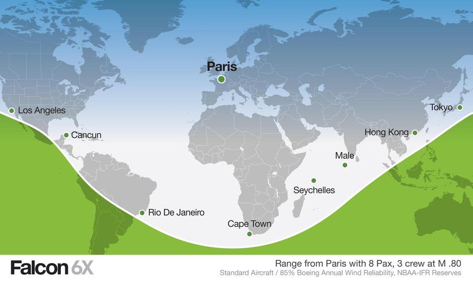 Reichweite der Falcon 6X. Grafik: Dassault Aviation