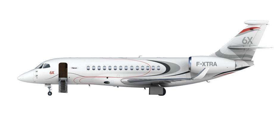 Seitenansicht der Falcon 6X. Grafik: Dassault Aviation