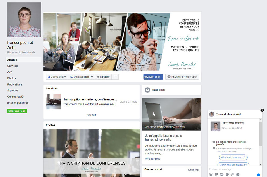 Page Facebook Transcription et Web