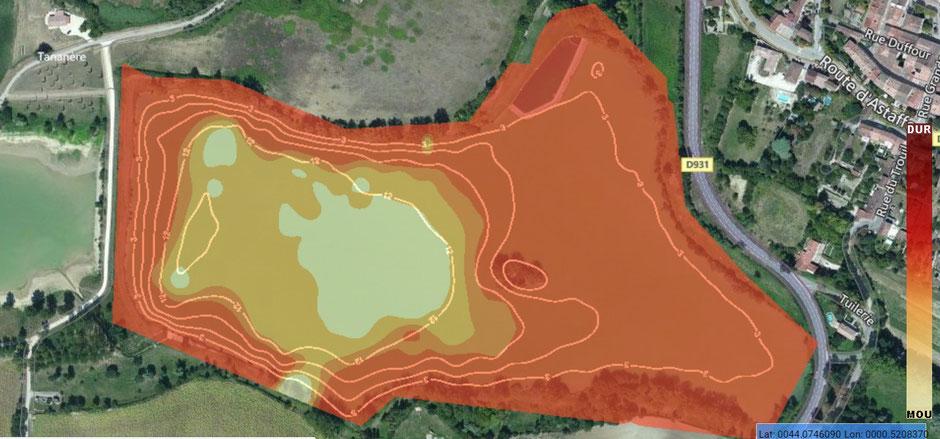 Structure du fond du lac de Lamontjoie