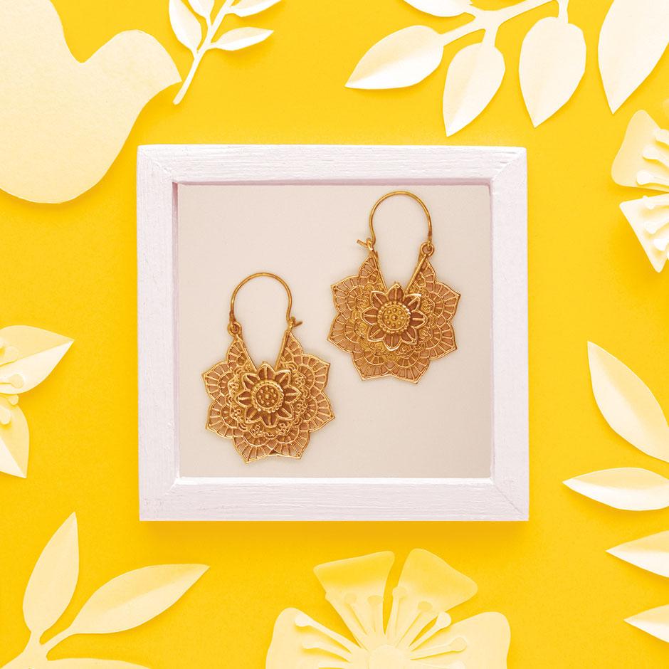 Ohrringe, Blume, Mandala, Messing, Fairtrade