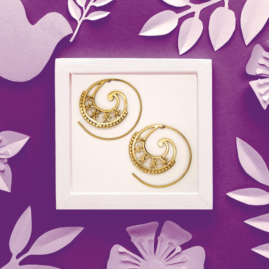 Ohrringe, Spirale, Messing, Fairtrade