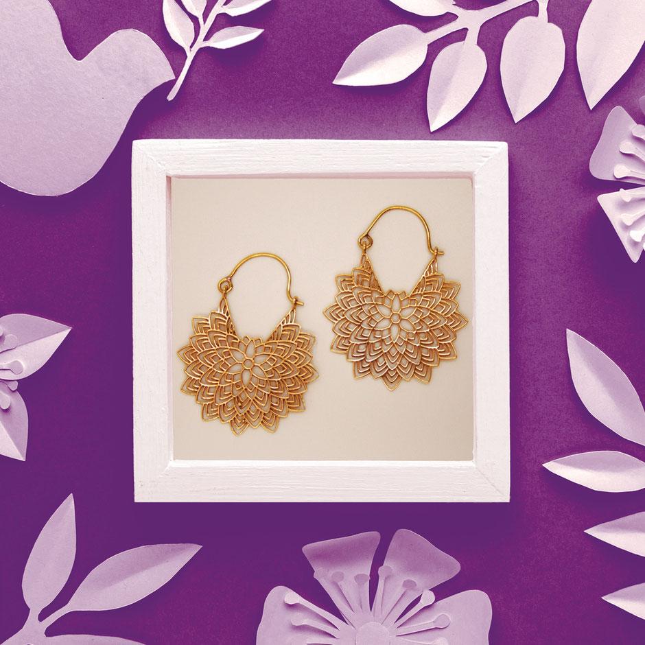Ohrringe, Blume Mandala, Messing, Fairtrade