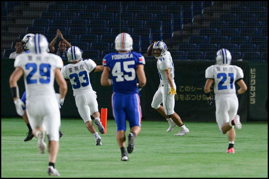 Daichi Furubashi caught a TD pass wideout Yutaro Nagasu (#29) - Dan Orlowitz, Inside Sport: Japan, Sept 4, 2017