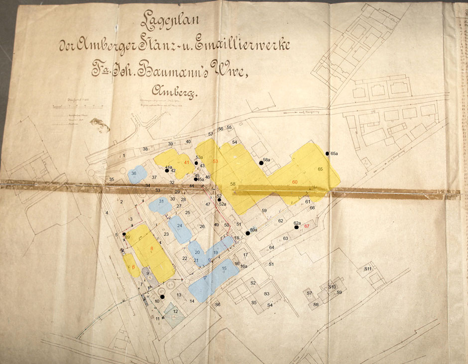 Lageplan 1904 mit Nutzungsangaben zu den Gebäuden [10 Quelle Museum Theuern]