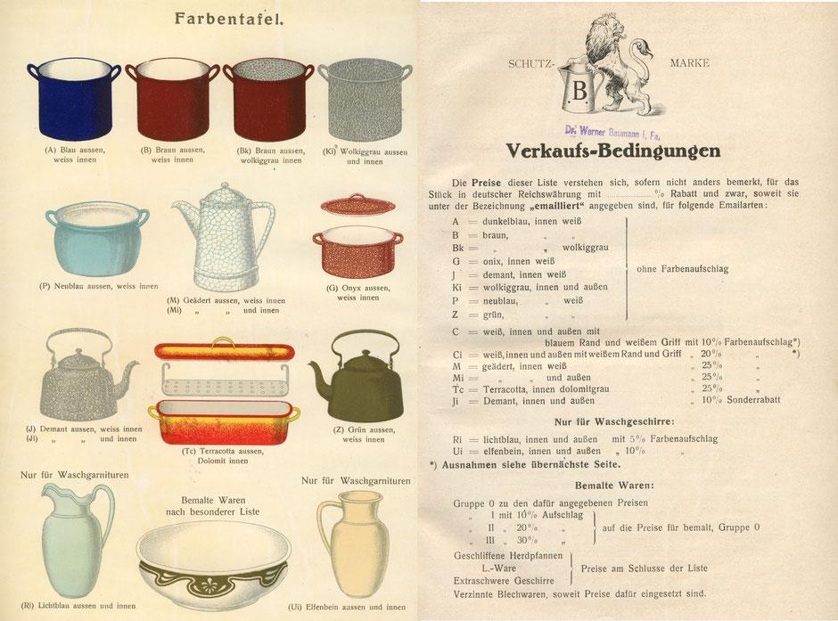 Emailfarben im Katalog von 1929