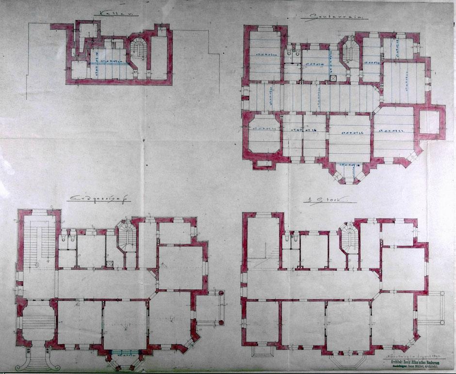 Neuer Bauantrag jetzt von Architekt David Röhm'sches Baubureau, Nachfolger: Hans Müller 1896