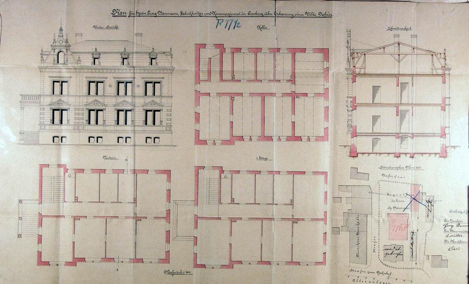 Bauantrag für den Bau einer Villa (Baumeister Carl Müller) 1896