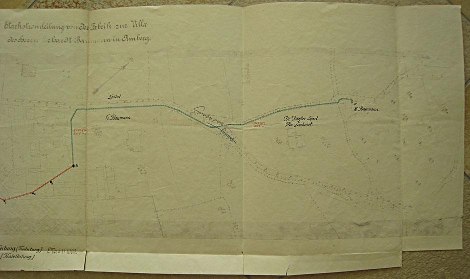 1908 Stromleitung von der Firma in die Villa (rot überirdisch, grün unterirdisch)