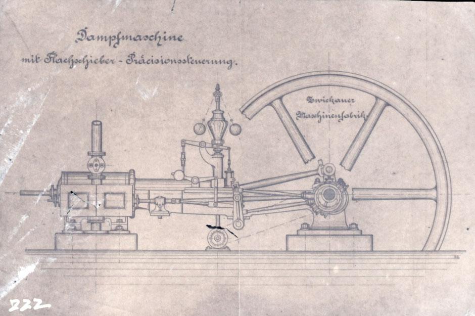 Zeichnung einer Dampfmaschine der Zwickauer Maschinenfabrik, ohne Zeitangabe [Quelle Museum Theuern, Unterlagen Baumann] - unklar ob diese Maschine auch wirklich eingesetzt wurde.