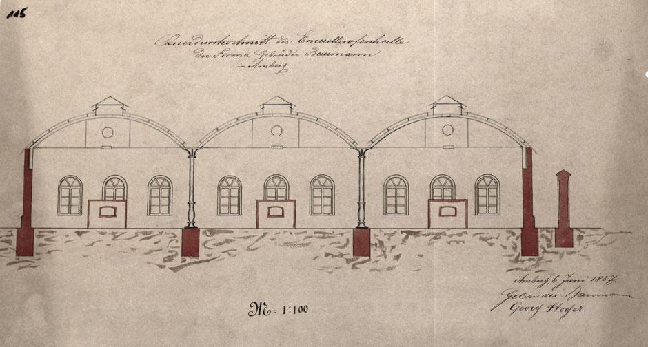 Plan von 1887 des neuen Emaillierwerks im nördlichen Teil [Quelle Museum Theuern]. Thypisch ist die runde Dachform.