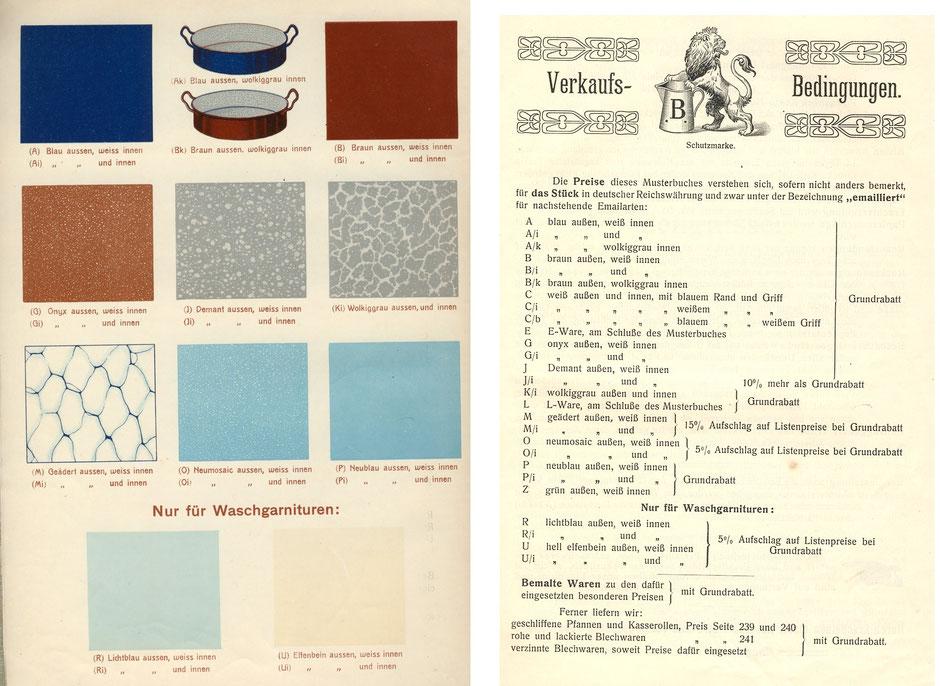 Emailfarben im Katalog von 1909