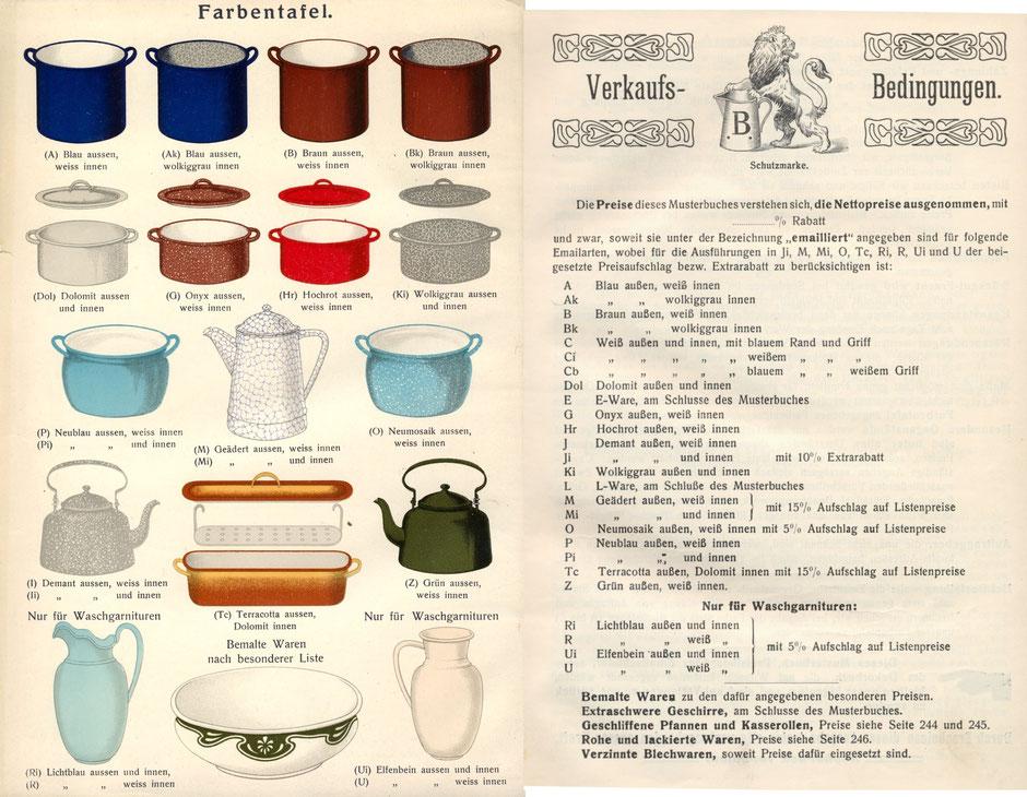 Emailfabren im Katalog 1913 (erstmals grün und terrakotta)