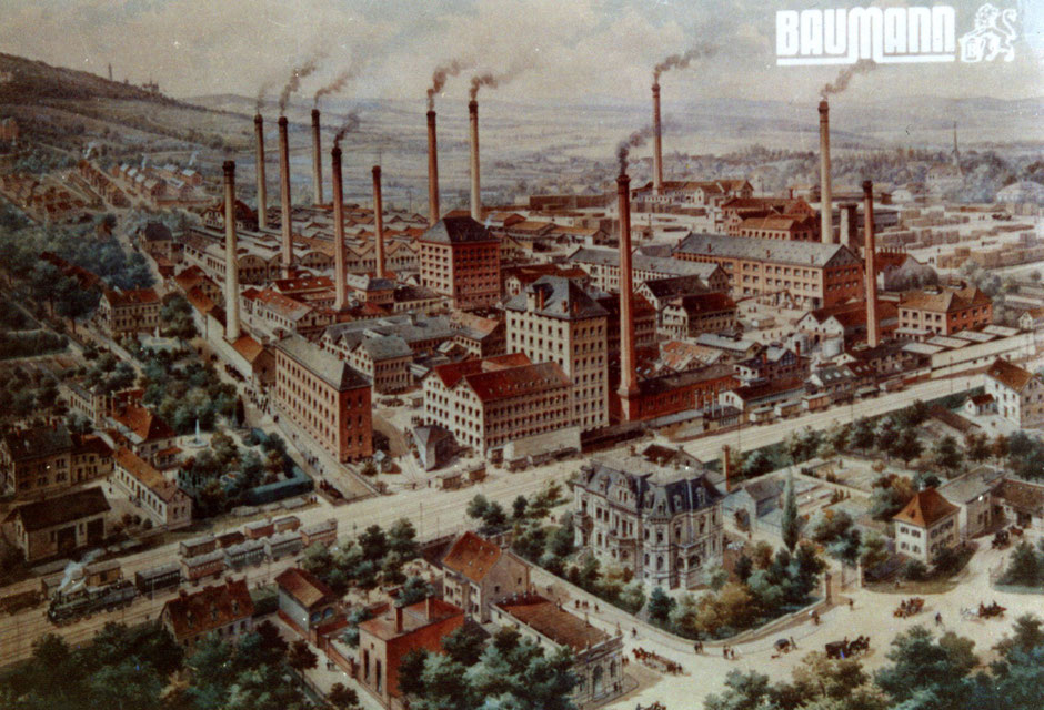 Gemalte farbige Bild mit Fabrikansicht etwa 1909,  12 Kamine [11]