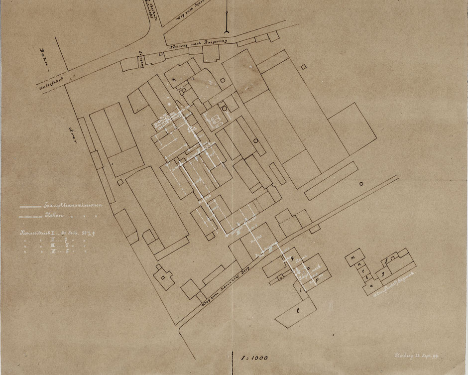 Transmissionsplan von 23.9.1899 (Transmissionen sind weisse Linien) [11]