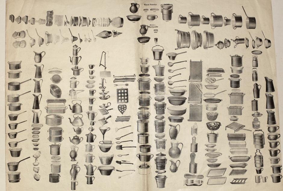 Blatt mit Druckstempeln für den Katalog [Quelle Museum Theuern] - um 1900
