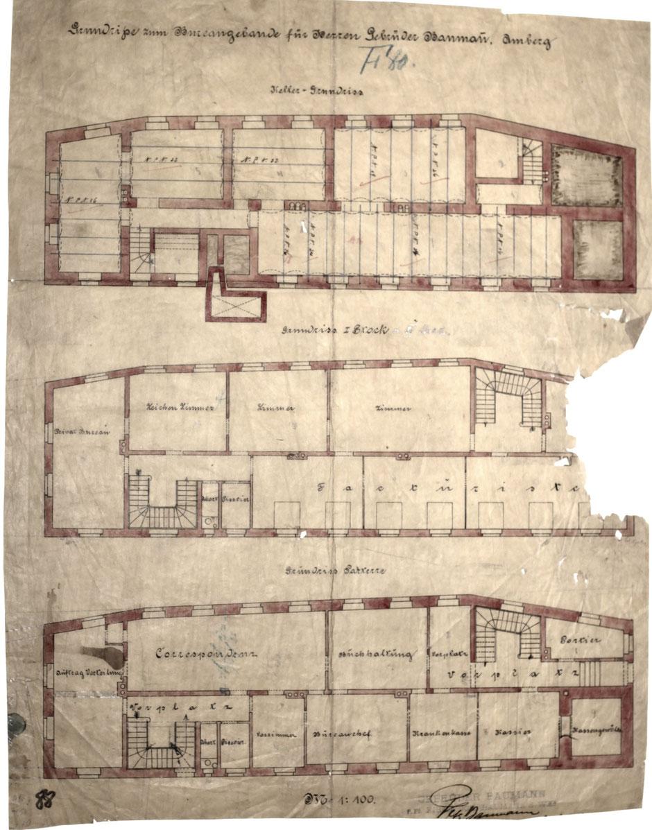 Plan des neuen Bürogebäudes, Plan von 1900 - Bauausführung 1903.[10]