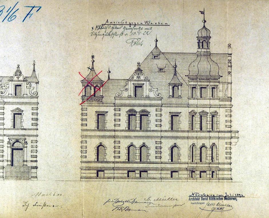 1896 Bauantrag Ansicht von Westen