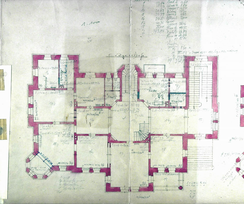 1896 Bauantrag Grundriss