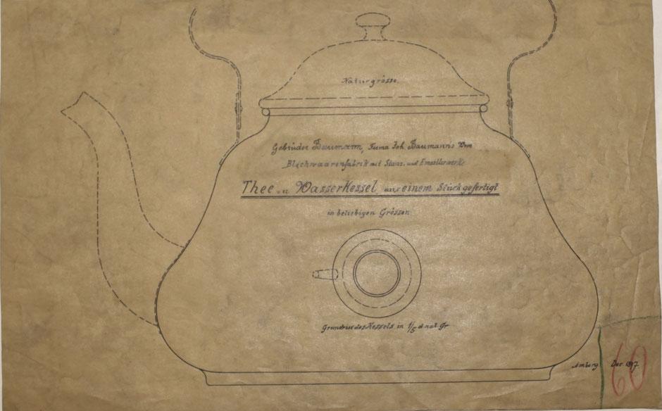 """Produktzeichnung """"Thee u. Wasserkessel aus einem Stück gefertigt"""" Dezember 1897 [Quelle Museum Theuern]"""