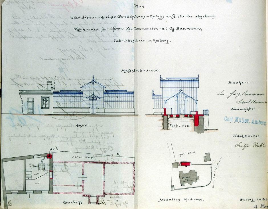 ca 1905 Bauantrag für Gewächshaus an der Wintervilla