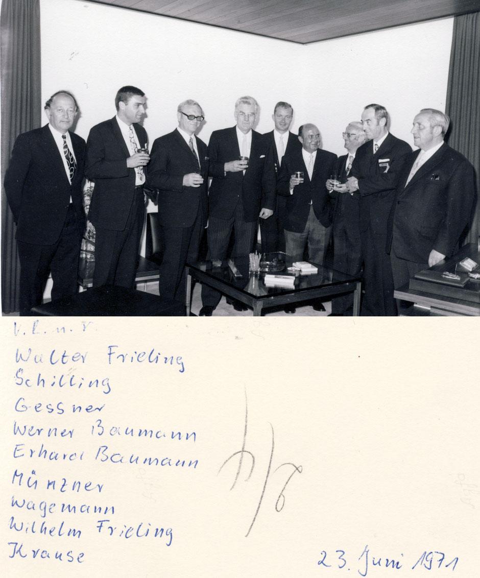 1971  Besuch zum 100-jährigen Jubiläum von Firma Frieling (Partner bei der BFB)