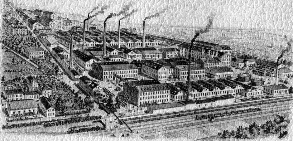 etwa 1895 Daie Abbildung ist auf der letzten Seite des Katalogs. Das alte Verwaltungsgebäude steht noch, Bild etwa vor 1895 - da das 12-stöckige Magazingebäude noch nicht abgebildet ist.