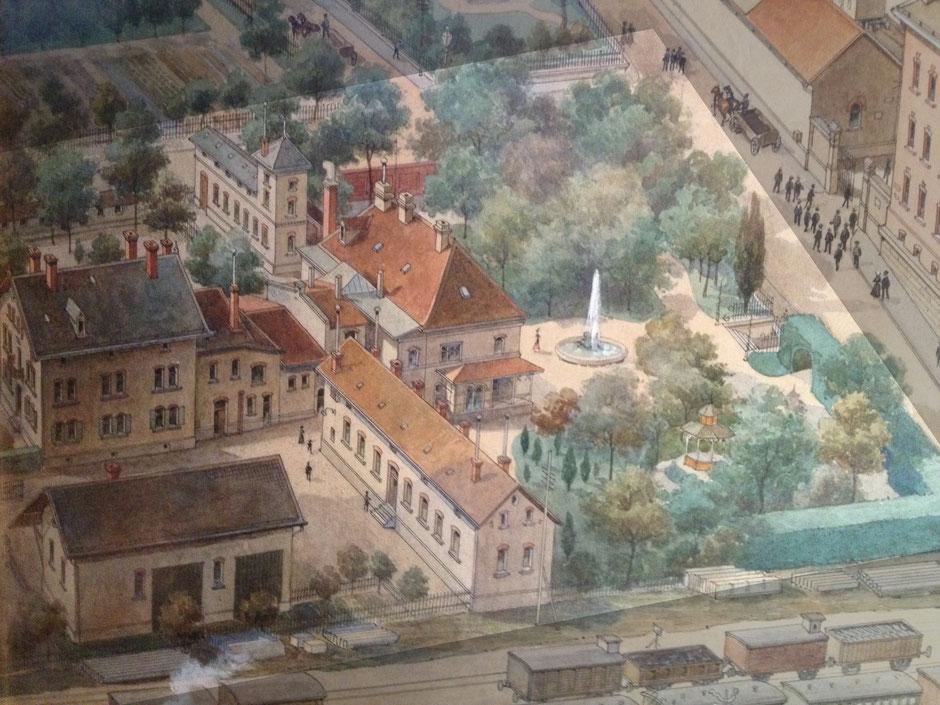 1910 Villa Christian - Ausschnitt vom Firmengemälde (durch das Fabriktor (rechter oben) verläuft heute die Marienstrasse)