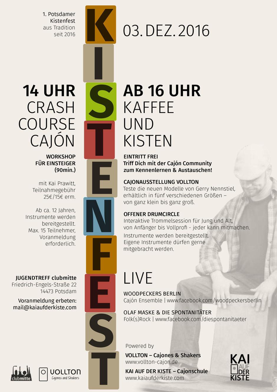 Kistenfest am 3. Dezember 2016 im Jugendtreff clubMitte Potsdam, Flyer teilen und weiterleiten