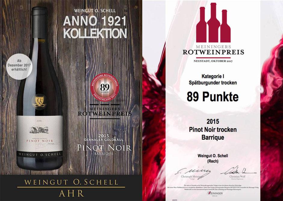 Meinungen Rotweinpreis Pinot Noir Spätburgunder Dernauer Goldkaul Deutscher Rotweinpreis Weingut O. Schell
