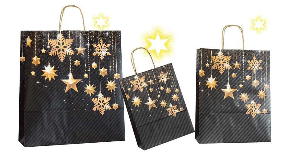 Weihnachtstasche Golden Stars schwarz grau gestreifte Weihnachstaschen bedruckt mit Sternen und Schneeflocken bzw Eiskristallen als Griff dient eine gedrehte Papierkordel in gold