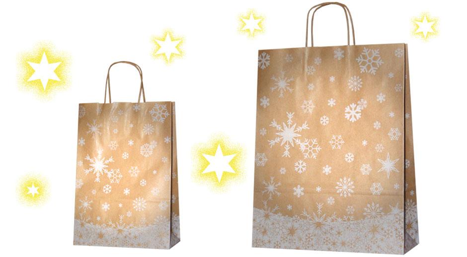 Weihnachtstaschen aus braun geripptem Papier mit gedrehten Papierkordeln im Format 22 x 10 x 31 cm und 32 x 12 x 41 cm bedruckt mit weißen Schneekristall und Schnee oder Eis kristallen schöne Weihnachtstasche