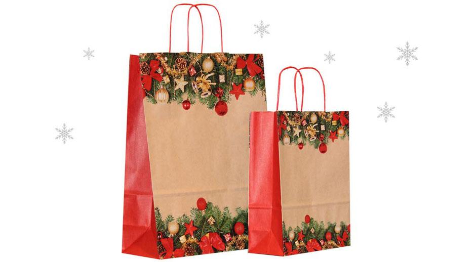 Weihnachtstasche Advent Weihnachtstaschen Papier mit Papierkordel in grün Weihnachtsmotiv bedruckt aus Kraftpapier braun gewellt gerippt sealing