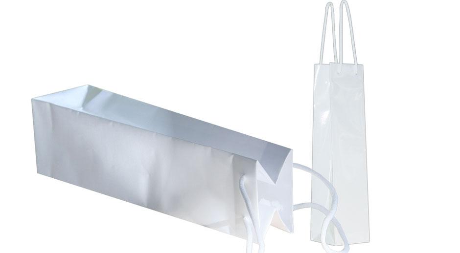 Tragetaschen für Flaschen Flaschentaschen weiss weiß mit Kordel und ganzplastifizierung günstig kaufen