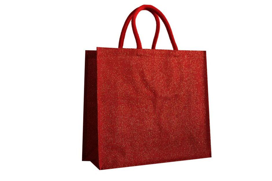 Jute Tragetaschen in Farbe rot mit eingewebten Fäden in gold, als Griff dient eine dicke rote Baumwollkordel aus 14x14 PSi starker Naturjute in rot