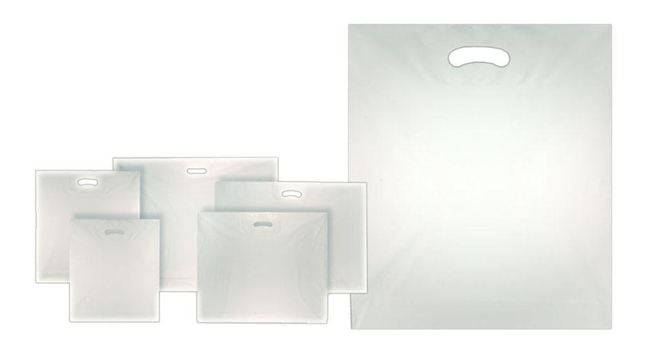 Folientaschen weiß mit Griffloch sind so genannte DKT Grifflochtaschen und können in verschiedenen Größen bestellt werden