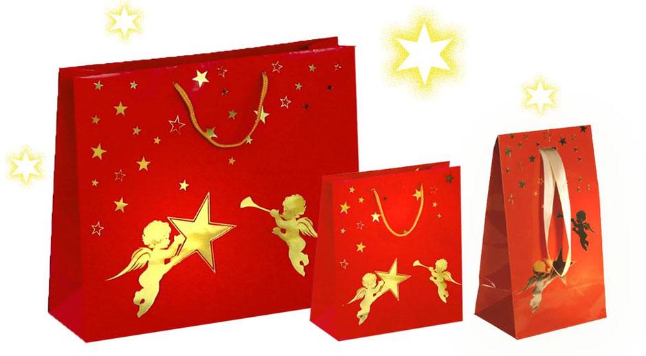 Weihnachtstasche und Geschenktasche Weihnachten Goldengel rot glänzende Tragetaschen mit Engel und Stern in gold bedruckt