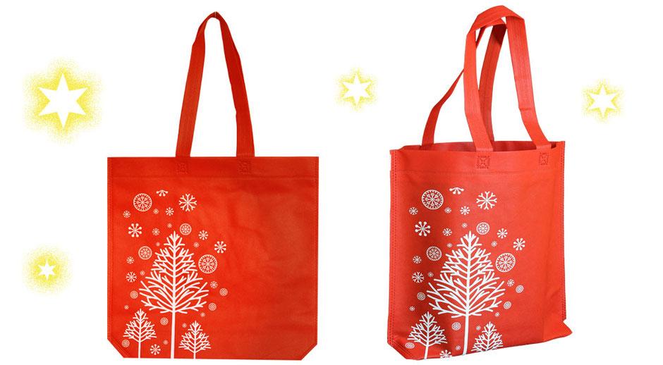 Weihnachtstaschen Weihnachtstasche Glimmer festliche Weihnachtsgeschenktaschen mit einem Rentier Geweih und dem Weihnachtswunsch Merry Xmas bedruckt in den Farben schwarz silber gold und rot