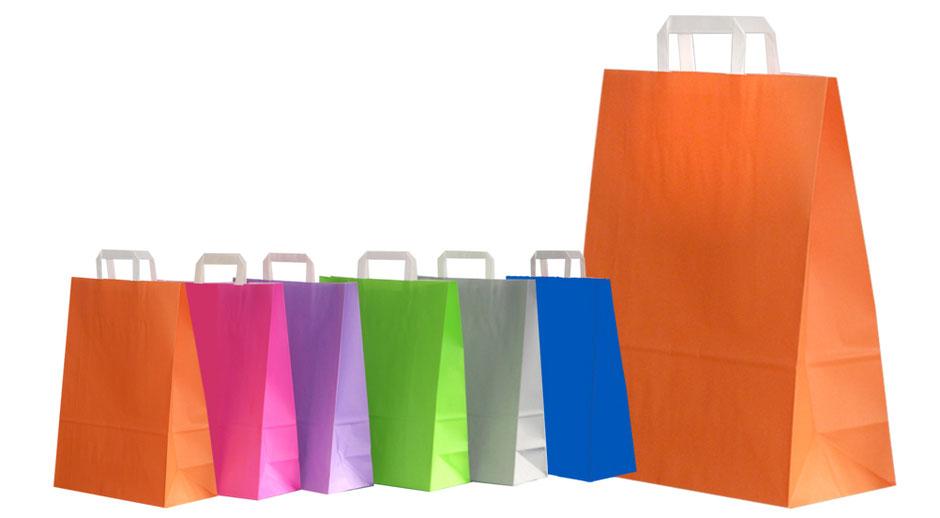 Papiertaschen farbig in blau grau hellgrün violett Pinkund orange mit Innenflachhenkel Flachhenkel gefalteten Papiergriff Papiertüten